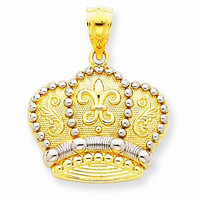 14k Yellow Gold Crown Theme Charm Pendant