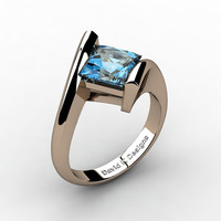 Modern 14K Rose Gold 2.0 Ct Princess Square Blue Topaz Kite Setting Engagement Ring R1031-14KRGBT