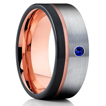 Blue Sapphire Tungsten Ring - Rose Gold Tungsten - Black Tungsten Ring - Brush