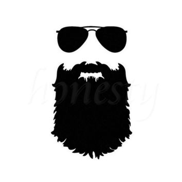 Beard Sticker Funny Glasses Auto Wall Home Glass Window Door Laptop Truck Black Vinyl Decal Mustache Hipster Nerd 11.1cmX17.9cm