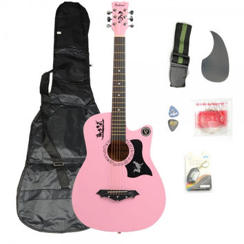 Basswood Guitar Pink with Bag Straps Picks LCD Tuner Pickguard String