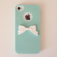 Mint Bow Lace Case:iPhone 4/4S