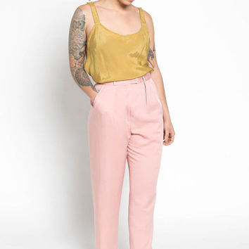 Vintage 80s Pale Pink High Waisted Pleated Trousers | 6/8
