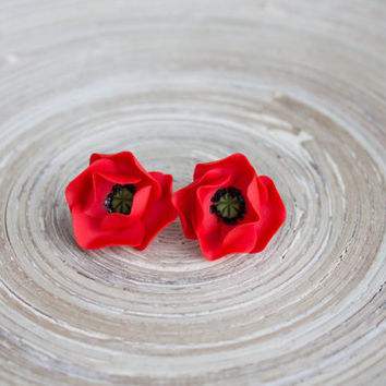 Stud Earrings Poppies -  Hand sculpted red flowers - hypoallergenic studs