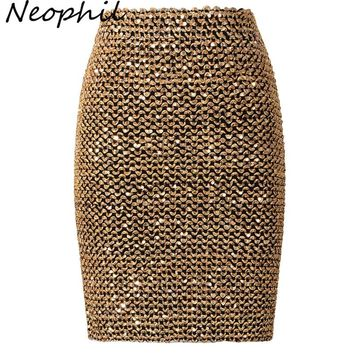 Neophil Spring Women Sequined Patchwork Shinny Pencil Mini Skirts High Waist Black Party Sexy Bandage Girls Long Saia S1802