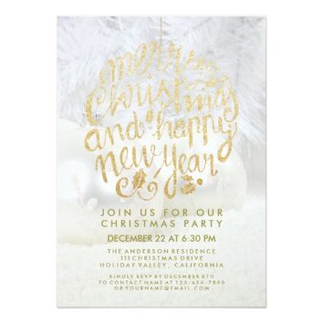 Gold & White Christmas Happy New Year Script Party Card
