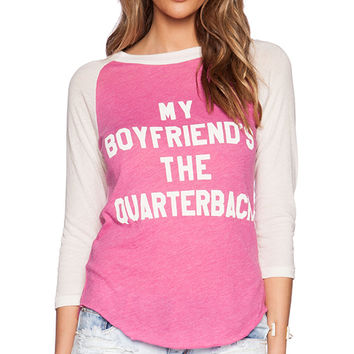 Wildfox Couture My Boyfriend's The Quarterback Graphic Tee in Pink