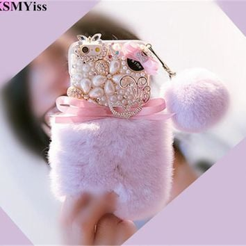 Luxury Bling Bowknot Small Flowers Warm Soft Beaver Rabbit Fur Phone Case For Iphone X 5S 5C 6 6S 7 8 Plus Protective Phone Case