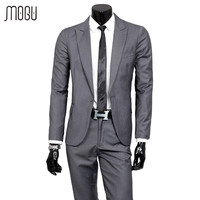 Spring 2016 New Arrival Men Suits Casual Slim Fit Business Dress Blazers Suits 2Pcs Men Suit Jacket+Pants Black Terno Masculino