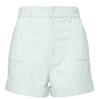 Blue Drill Cotton High Waisted Short