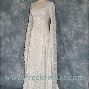 "Elvish Wedding Dress, Medieval Hand Fasting Gown, Robe Elfique, Pre-Raphaelite Gown,  Medieval Dress, Renaissance Dress, ""Darcy"""
