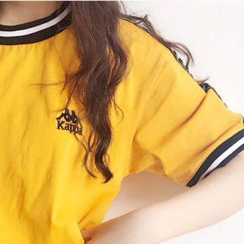 Gotopfashion Kappa Women Men Tee Shirt Round Stripe Neck Sleeve With Side Logo B-MG-FSSH Yellow