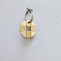 Brass cross key ring, brass cross keychain, golden disk charm with square hole, golden disk with cross on alloy ring, unisex accessories