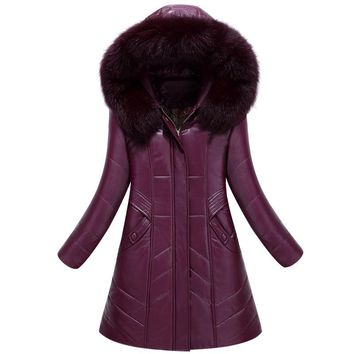 Women's down jacket Slim stylish long section pu leather padded jacket winter warm Large fur collar coat plus size L-8XL Cotton