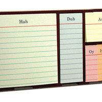 STICKY SET OLD SCHOOL / Tray: 7.375 x 3.8125 x 1.125 inches. 6 sticky pads, 100 sheets each; paper-wrapped chipboard tray.