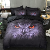 3D Owl Printed Bed Linen Bedding Set 3D Comforter Bed Cover Quilt Duvet Cover Queen King Size Bedding Double Single Black Sheets