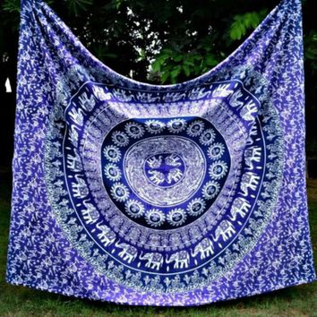 LMF9GW Free Shipping Elephant Indian Mandala Tapestry Hippie Wall Hanging Bohemian Bedspread Decor