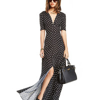 Polka Short Sleeve V Neck Sheath Slit Maxi Dress