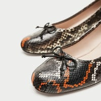 PRINTED LEATHER HIGH HEEL BALLERINAS