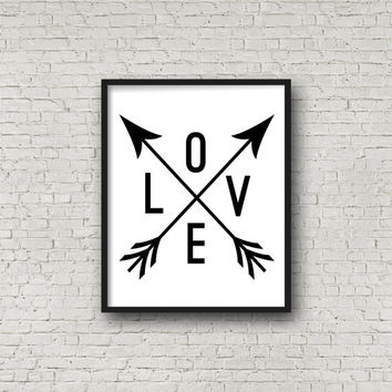 Love Sign, Arrow Print, Wedding Sign, Digital Art, Printable Art, Minimalist Decor, Wall Hanging, Love Poster, Arrow Art, Instant Download