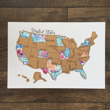 Pre Order Sale: Teal Tinted Travels- Watercolor Scratch Map