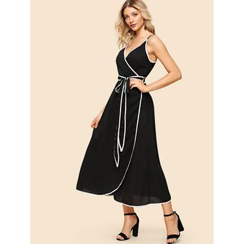 Black V-Neck Sleeveless Knot Wrap Dress