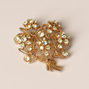 Vintage Brooch with Soft Green Rhinestones