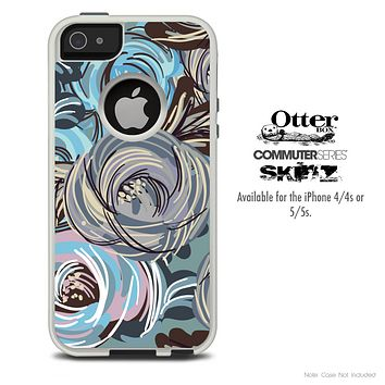 The Abstract Subtle Toned Floral Strokes Skin For The iPhone 4-4s or 5-5s Otterbox Commuter Case