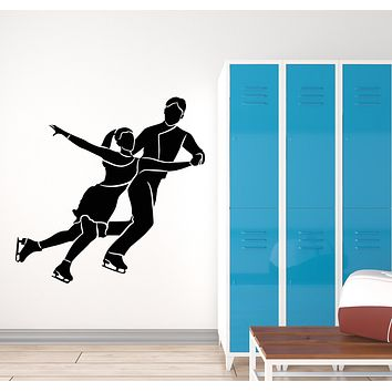 Vinyl Wall Decal Figure Skating Couple Dancers Sport Olympic Games Stickers Mural (g2781)