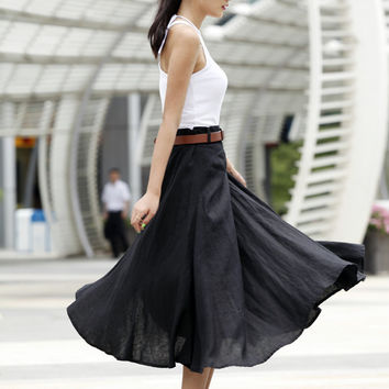 Romantic Maxi Skirt Long Linen Skirt In Black - NC456