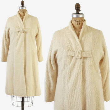 Vintage 50s SWING COAT / 1950s Ivory Textured Angora Wool Blend Jacket S