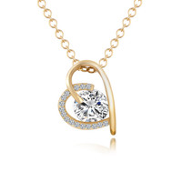 Simple Heart Rhinestone Neckalce