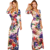 V-Neck Flower Maxi Dress with Sleeves