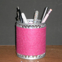 FUCSHIA PINK & BLING Pen/Pencil Cup Holder - Fuchsia pink w/ clear rhinestones