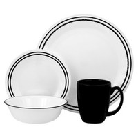 Corelle Brilliant Black Beads 16-piece Dinnerware Set - Black/White