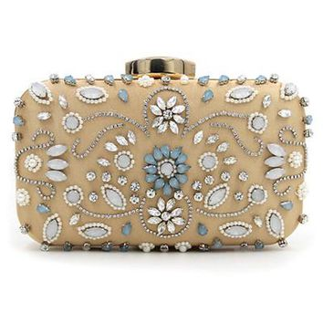 Women Black Clutch Wedding Bags Female Vintage Clutches wallets Ladies Beaded Pearl Evening Bags Party Purses blue/gold/silver