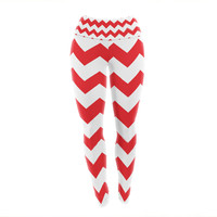 "KESS Original ""Candy Cane Red"" Chevron Yoga Leggings"