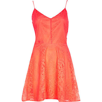 River Island Womens Coral lace cami fit and flare dress