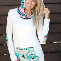 Mint and Pink Aztec Hoodie with Pocket