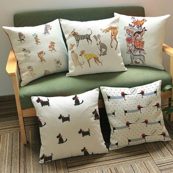 Cute Dogs Print Pattern Cream Color Kid's Room Decorative Pillows Cotton Linen Cushion Cover Dachshund  Animal Print Pillow Case