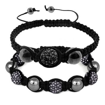 BodyJ4You 2PCS Disco Ball Bracelets Beads Hematite Black Pave Crystals Iced Out Jewelry Gift Set