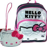 "SET OF 2!! Hello Kitty SILVER Sequin & BLING, Glitter SPARKLE 16"" Full Size Back Pack & Matching Silver & HOT Pink GLITTER BLING Small Wristlet by Sanrio"