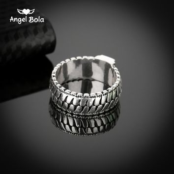 Retro Men Jewelry Gothic Chain Buddha Ring Lightning Round New Store Ancient Silver Ring for Male Gift Drop Shipping