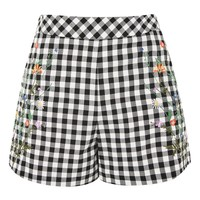 PETITE Embroidered Gingham Shorts