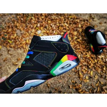 Hot Nike Air Jordan 6 Retro Women Shoes Colorful White Green