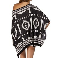 BlackWhite Oversize Tribal Print Sweater