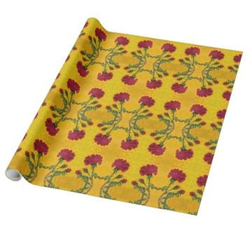 Mothers Day Red Rose Wrapping Paper