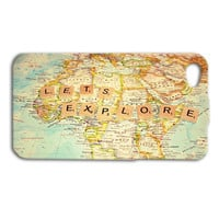 Lets Explore Phone Case Wanderlust iPhone Case World Map iPod Case iPhone 4 Case iPhone 4s iPhone 5 Case iPhone 5s iPod 5 Case iPod 4 Case