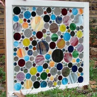 Stained Glass Repurposed Vintage Mosaic Window -- Glass Beach