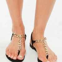 Missguided - Black Chain T Bar Flat Sandals